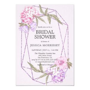 Glittery Geometric Floral Flowers Bridal Shower Invitation starting at 2.40
