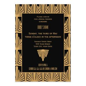 Gold and Black Art Deco Pattern Bridal Shower Invitation starting at 2.51