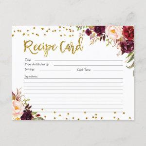 Gold and Red Marsala Floral Recipe Card starting at 2.20