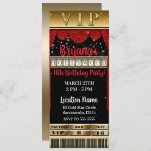 Gold Black Red HOLLYWOOD Birthday Party VIP Ticket Invitation starting at 2.93