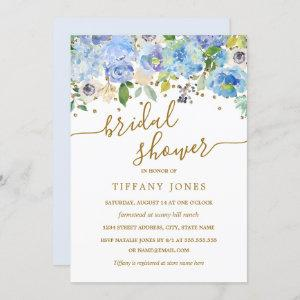 Gold Blue Floral Watercolor Bridal Shower Invite starting at 2.55