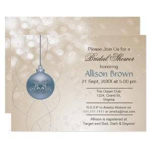 gold blue ornament Snowflakes Winter Bridal Shower Invitation starting at 2.50