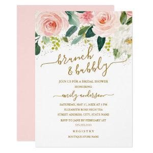 Gold Blush Floral Brunch And Bubbly Bridal Shower Invitation starting at 2.40