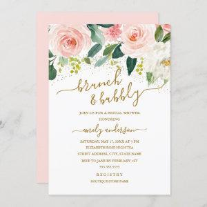 Gold Blush Floral Brunch And Bubbly Bridal Shower starting at 2.40
