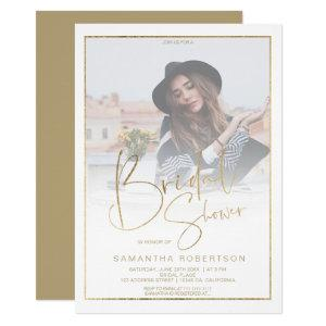 Gold border calligraphy photo bridal shower invitation starting at 2.40