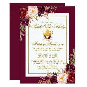 Gold Bridal Shower Tea Party Burgundy Invite B starting at 2.51