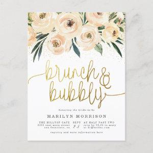 Gold Calligraphy Floral Brunch & Bubbly Invitation Postcard starting at 1.70