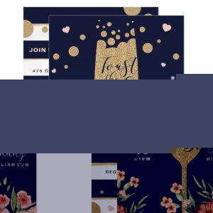 Gold Champagne | Florals & Stripe Bridal Shower Invitation starting at 2.55
