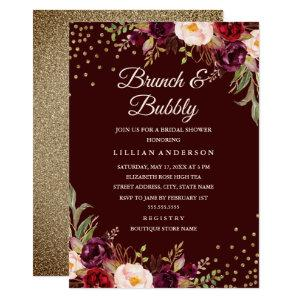 Gold Confetti Burgundy Floral Brunch and Bubbly Invitation starting at 2.40