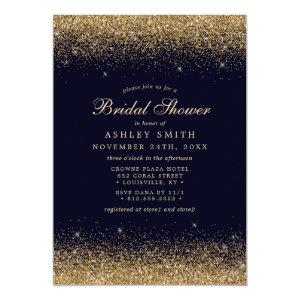 Gold Confetti Navy Blue Modern Bridal Shower Invitation starting at 2.55