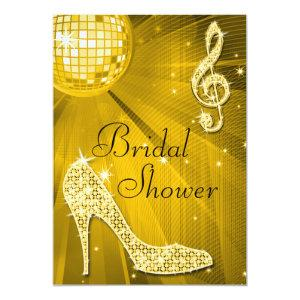 Gold Disco Ball and Sparkle Heels Bridal Shower Invitation starting at 2.77