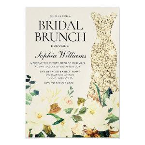 Gold Dress Floral Bridal Shower Brunch Invitation starting at 3.70