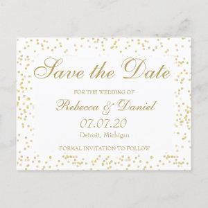 Gold Dust Confetti Save the Date Announcement Postcard starting at 1.70