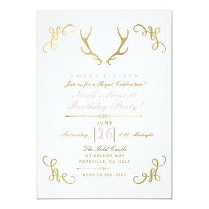 Gold Faux Foil Rustic Deer Antlers Sweet 16 Party Invitation starting at 2.77