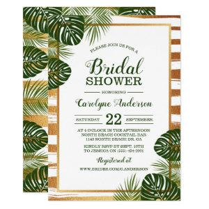 Gold Foil & Green Palm Leaf Beach Bridal Shower Invitation starting at 2.40