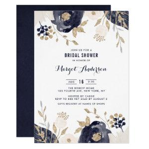 Gold Foil Navy and Ivory Flowers Bridal Shower Invitation starting at 2.40