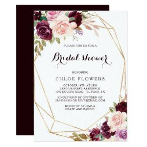 Gold Geometric Blush Burgundy Floral Bridal Shower Invitation starting at 2.26