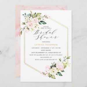 Gold Geometric Blush Floral Bridal Shower Invitation starting at 2.66