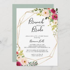 Gold Geometric Floral Brunch with the Bride Shower Invitation starting at 2.51