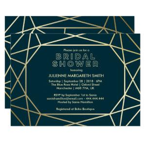 Gold Geometric Gem Sophisticated Bridal Shower Invitation starting at 2.35