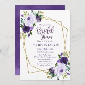 Gold Geometric Purple Floral Bridal Shower starting at 2.35