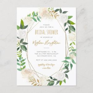 Gold Geometric Watercolor Floral Bridal Shower Invitation Postcard starting at 1.70