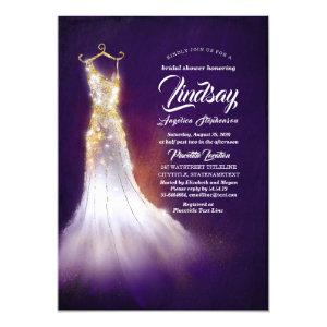 Gold Glitter Elegant Dress Purple Bridal shower Invitation starting at 2.40