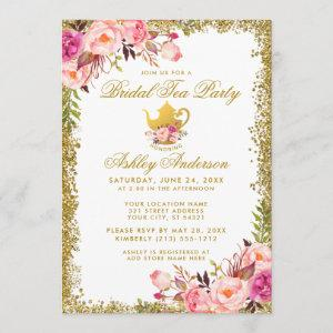 Gold Glitter Pink Floral Bridal Tea Party Invite starting at 2.51