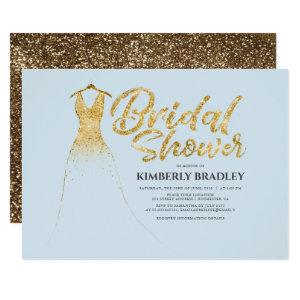 Gold Glitter Wedding Gown Dusty Blue Bridal Shower Invitation starting at 2.15