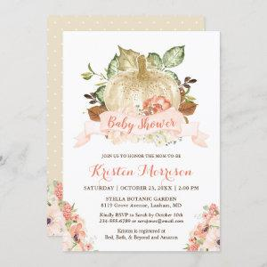 Gold Glitters Pumpkin Floral Fall Baby Shower Invitation starting at 2.30