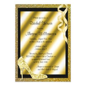 Gold Glittery Stiletto & Streamers Bridal Shower Magnetic Invitation starting at 5.05