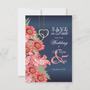 Gold Heart and Coral Flowers - Save The Date starting at 2.26