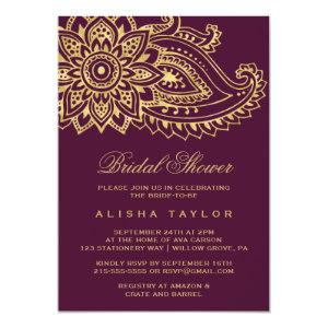 Gold Indian Paisley Bridal Shower Invitation starting at 2.51