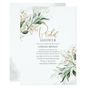 Gold Leaves Greenery Romantic Cute Bridal Shower Invitation starting at 2.51