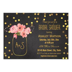 Gold Mason Jar Confetti Chalkboard Bridal Shower Invitation starting at 2.55