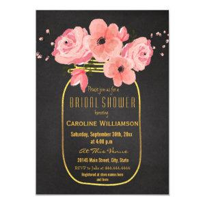 Gold Mason Jar Flowers Chalkboard Bridal Shower Invitation starting at 2.20