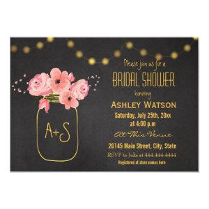 Gold Mason Jar Lights Chalkboard Bridal Shower Invitation starting at 2.66