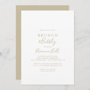 Gold Minimalist Brunch and Bubbly Bridal Shower Invitation starting at 2.51