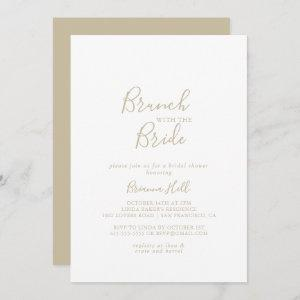 Gold Minimalist Brunch with the Bride Shower  Invitation starting at 2.51