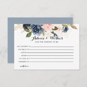 Gold Navy Blue Pink Floral Advice and Wishes Card starting at 2.01