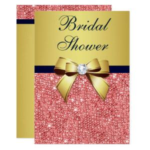 Gold Navy Coral Sequins Diamonds Bow Bridal Shower Invitation starting at 2.70
