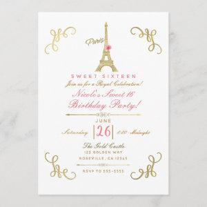 Gold Paris Eiffel Tower Pink Rose Sweet 16 Party Invitation starting at 2.77