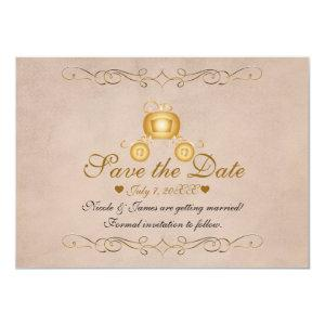 Gold Princess Cinderella Carriage Save the Date Invitation starting at 2.31