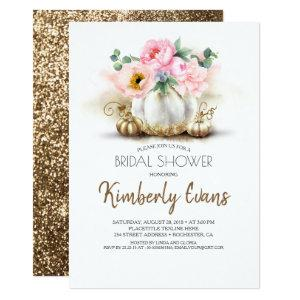 Gold Pumpkin Blush Pink Floral Fall Bridal Shower Invitation starting at 2.26