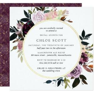 Gold Purple Mauve Pink Floral Bridal Shower Invitation starting at 2.41