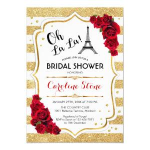 Gold Stripes Red Roses French Style Bridal Shower Invitation starting at 2.35