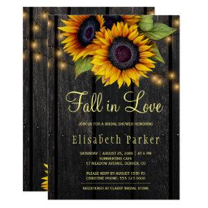 Gold sunflowers country barn wood bridal shower invitation starting at 2.45