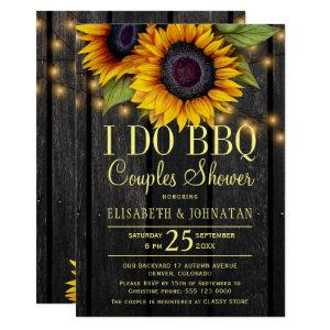 Gold sunflowers country barn wood couples shower invitation starting at 2.45
