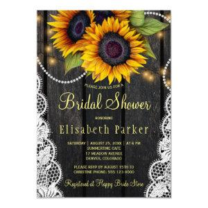Gold sunflowers lace and barn wood bridal shower invitation starting at 2.45