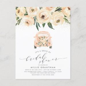 Gold & Watercolor Floral Drive By Bridal Shower Invitation Postcard starting at 1.70